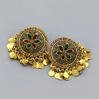thailand indian gold silver color metal stud earrings for women female ethnic round beads flower earring orecchini party jewelry