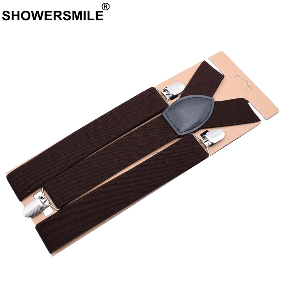Коричневые подтяжки SHOWERSMILE, широкие мужские подтяжки для брюк для взрослых, подтяжки для брюк бордового цвета, свадебные деловые подтяжки д...