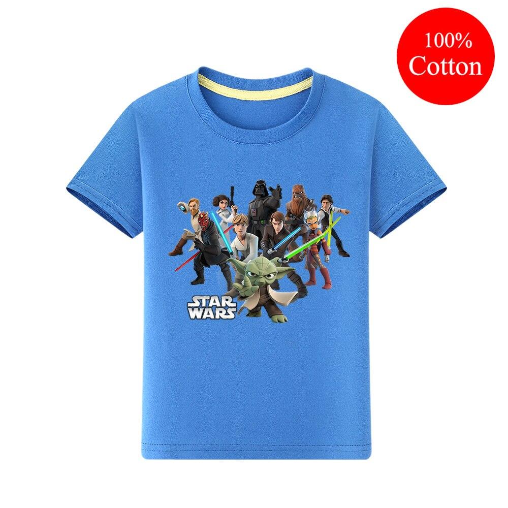 Camisetas de manga corta de verano para niños, Camisetas estampadas en 3D de Star Wars, ropa rosa para niños y niñas, lindas camisetas, ropa para niños QA006