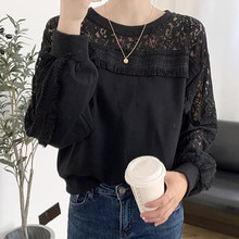 Hoodie Lace Splicing Hollow Out Embroidery Solid Color Round Neck Long Sleeve Women Casual Autumn 20