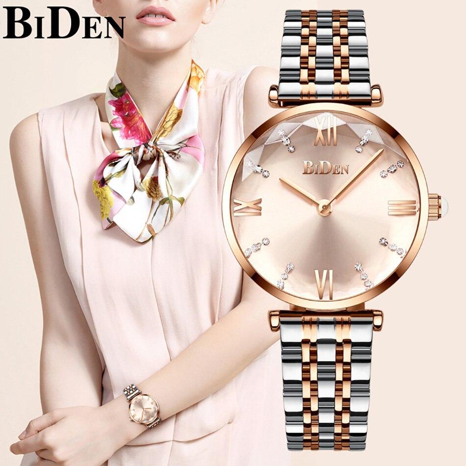 Reloj de lujo de oro rosa para mujer, reloj de moda elegante minimalista de acero inoxidable impermeable, reloj de regalo para mujer