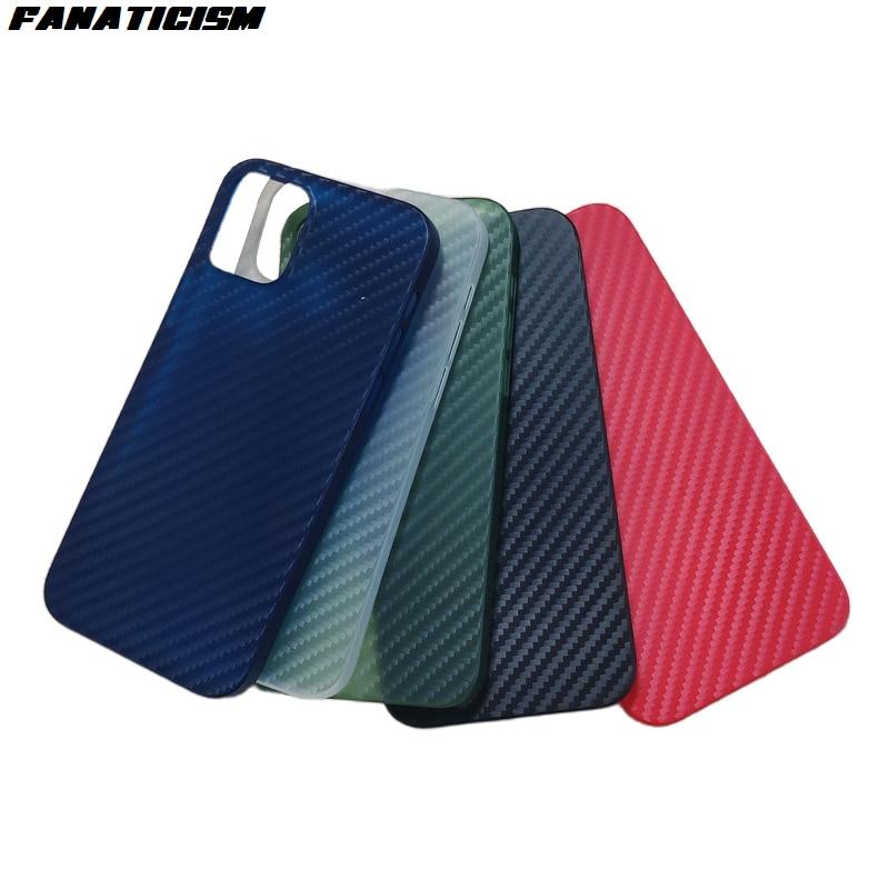 جراب هاتف مقاوم للصدمات ، 500 قطعة ، 5 ألوان PP ، رفيع للغاية ، خطوط ألياف الكربون ، لهاتف iPhone 12 Pro Max iphone12 mini 12pro