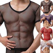Sexy Men Mesh See Through T-Shirt Fishnet Hollow Clubwear Streetwear Perform Male Short Sleeve Top Undershirt Top Tee