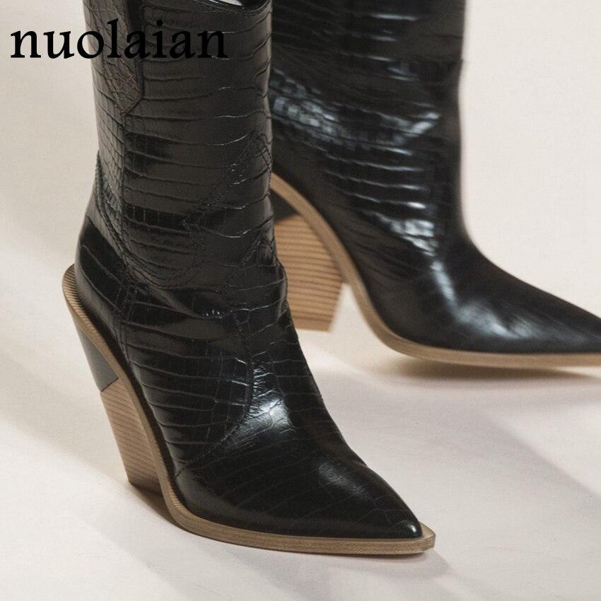 Tacones de 9,5 CM botas de tobillo de piel para mujer botas de nieve zapatos de invierno cuñas de zapatos de tacón alto señora Chaussure
