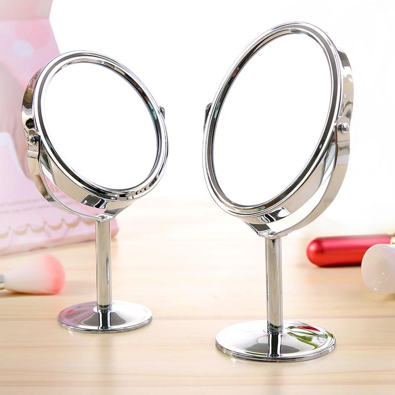 Espejo pequeño para maquillaje, escritorio, mesa redonda ovalada, espejo de tocador de doble cara giratorio de metal para el hogar para mujer, WJB411