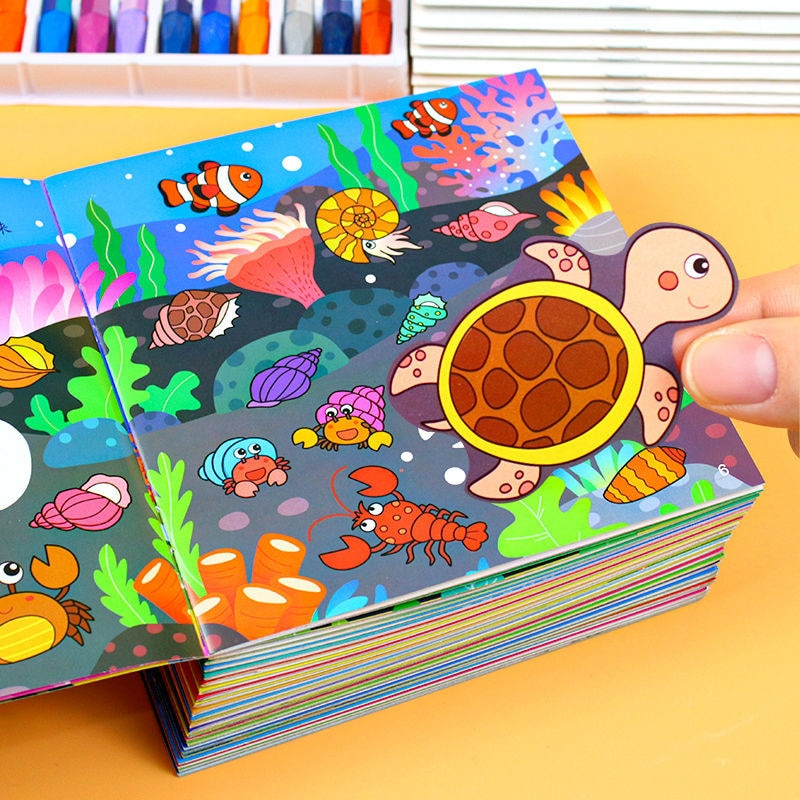 24 Books Children's Sticker Book 3-6 Baby Paste Stickers Cartoon Sticker Stickers Enlightenment Educational Toys Early Education