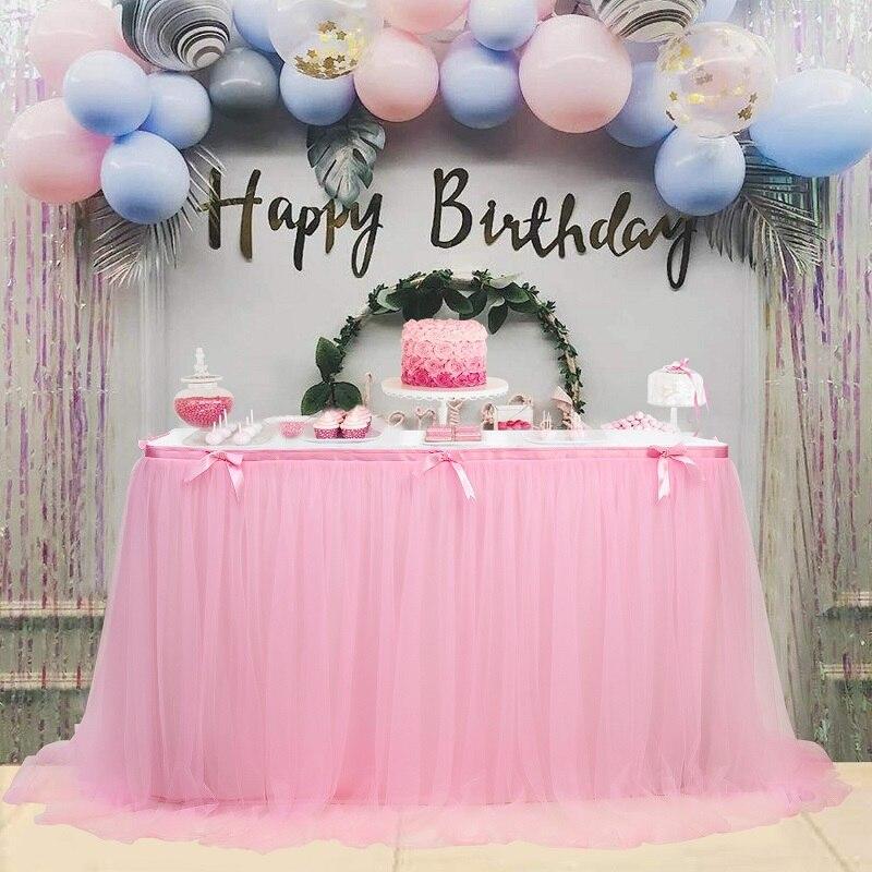 توتو تول مفرش طاولة المائدة الدانتيل غطاء استحمام الطفل ديكور المنزل مفرش طاولة ing حفلة عيد ميلاد ديكور الزفاف الجدول ثوب نسائي