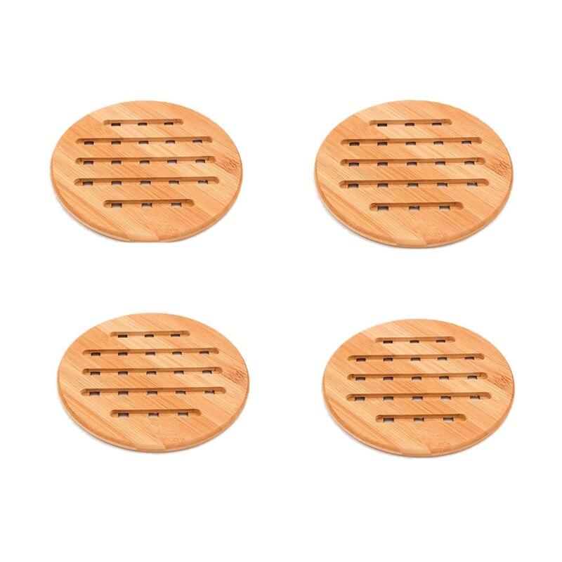 Moda-Juego de 4 trípodes de bambú para sartenes calientes platos antideslizantes resistente al calor olla caliente aislada titular almohadillas 18x18 CM
