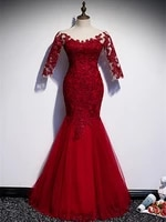 vestido de festa scoop neck mermaid evening dress robe de soiree 2021fashion 34 sleeve burgundy evening dresses formal dress