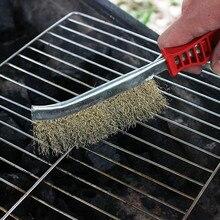 BBQ Grill brosse de nettoyage rouge en plastique poignée en acier fil brosse cuivre placage Derusting brosse Barbecue maille outils de nettoyage