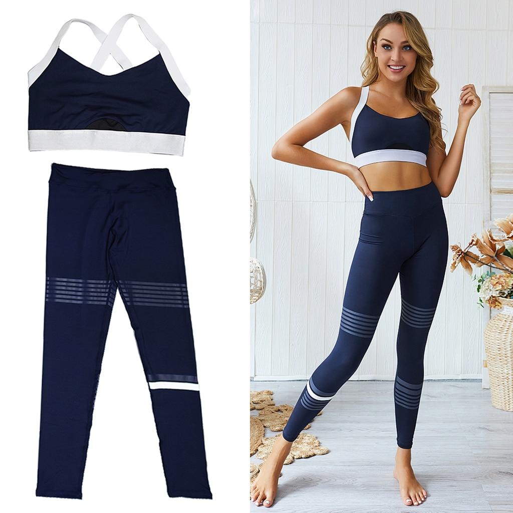 Conjunto de gimnasio y Fitness para mujer, Top deportivo, Leggings sin mangas, Conjunto de sujetador, ejercicio, ejercicio, Yoga, ropa atlética
