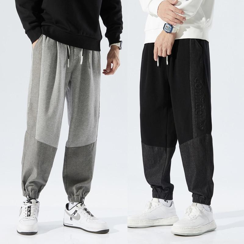 Мужские Зимние флисовые штаны для бега, Свободные тренировочные штаны на шнуровке, Удобные мужские уличные брюки из флиса