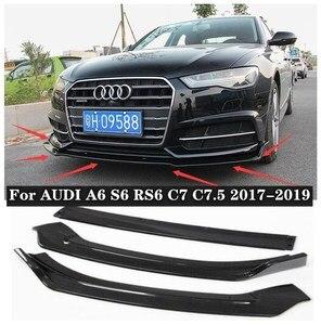3Pcs/1set ABS /Carbon Fiber Car Front Lip Splitters Bumper Aprons Cup Flaps Fits For Audi A6 S6 RS6 C7 C7.5 2017 2018 2019
