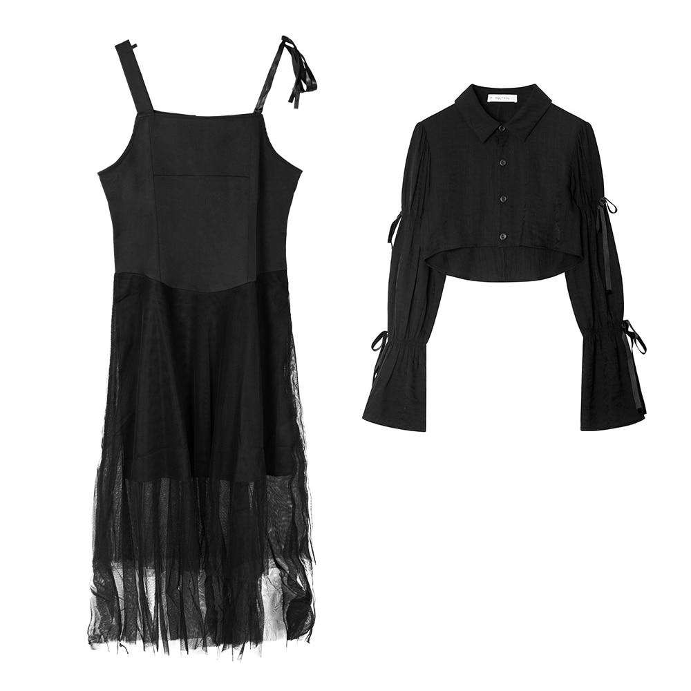 Korea-style 2021 Summer dress women Dark Style cool black Party Large size Suspender Dresses for suit