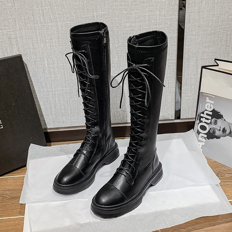 Women's High Boots Natural Genuine Leather Platform Riding Boots High Elasticity Boots Women Shoes A