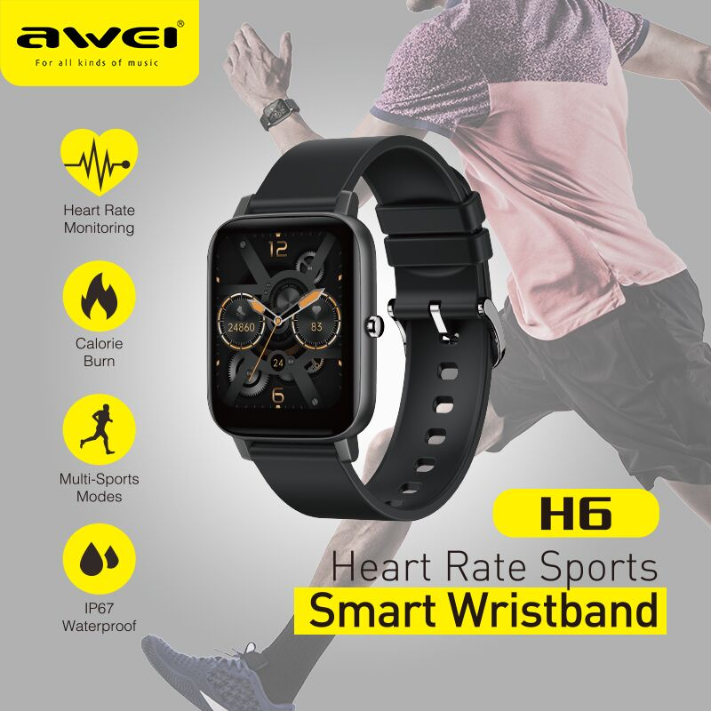 awei H6 Smart Watch 1.69 inch Fitness Build in Blood Pressure Health Care Analysis Sport and Sleep D