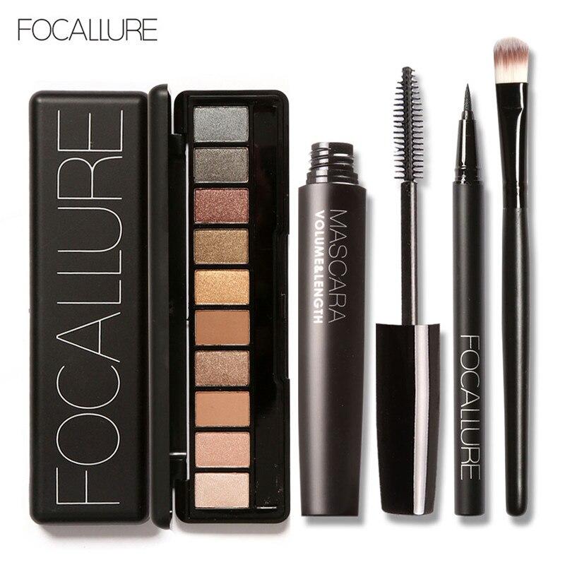 Juego de maquillaje Focallure, 10 colores Nude cálidos, sombra de ojos, delineador de pestañas negro con 1 uds, Kit de brochas de sombra