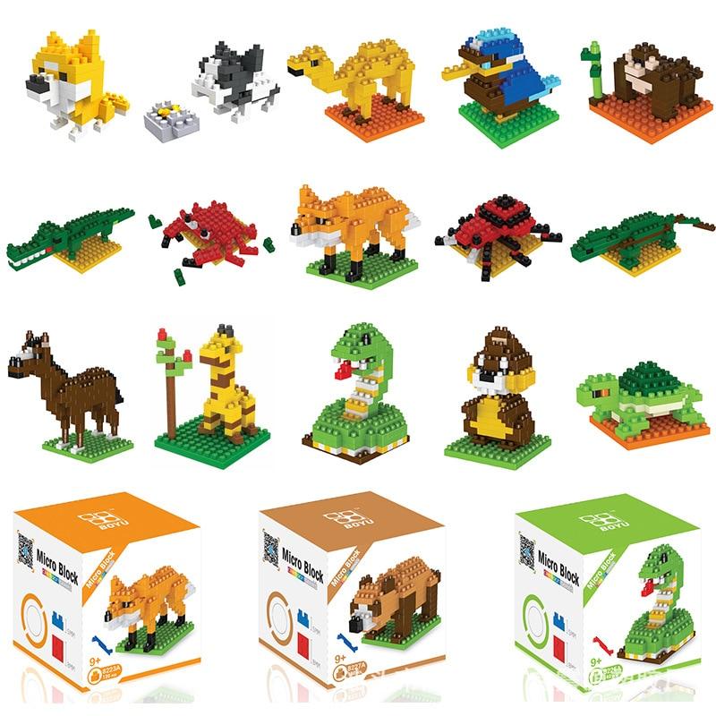Wisehawk diamond mini building blocks animal toy bag building blocks  dog cat bird animal series for children gifts no box