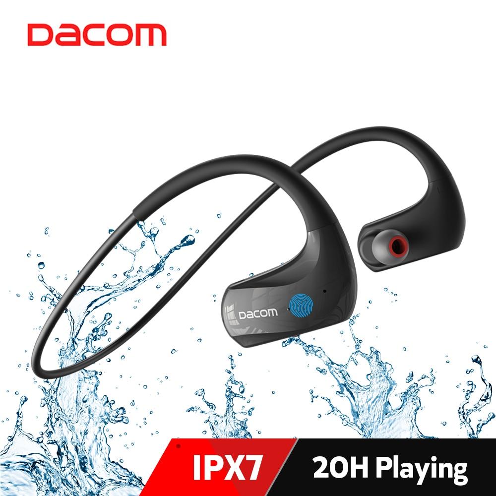 Dacom-سماعة رأس رياضية لاسلكية ، IPX7 ، بلوتوث ، مقاومة للماء ، 20 ساعة ، تشغيل AAC
