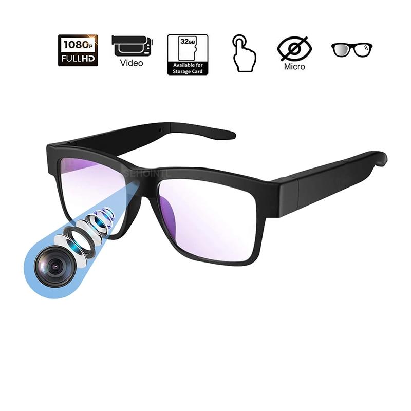 كاميرا نظارات 1080P HD كاميرا فيديو صغيرة نظارات كاميرا يمكن ارتداؤها للاستخدام في الأماكن المغلقة والهواء الطلق اللاسلكية مايكرو كاميرا العمل