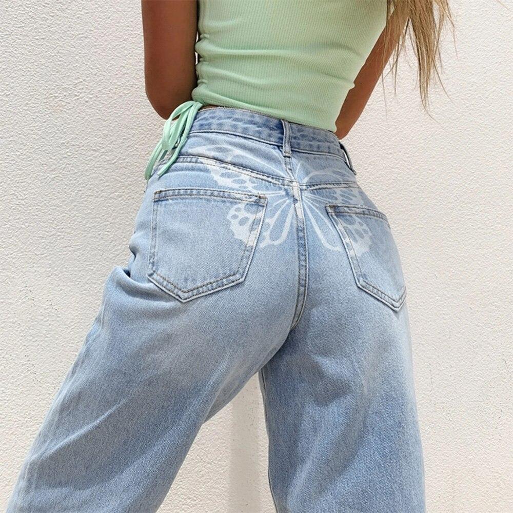 Женские узкие джинсы с принтом бабочки, уличная модная одежда, повседневные свободные прямые джинсы оверсайз, винтажная уличная одежда