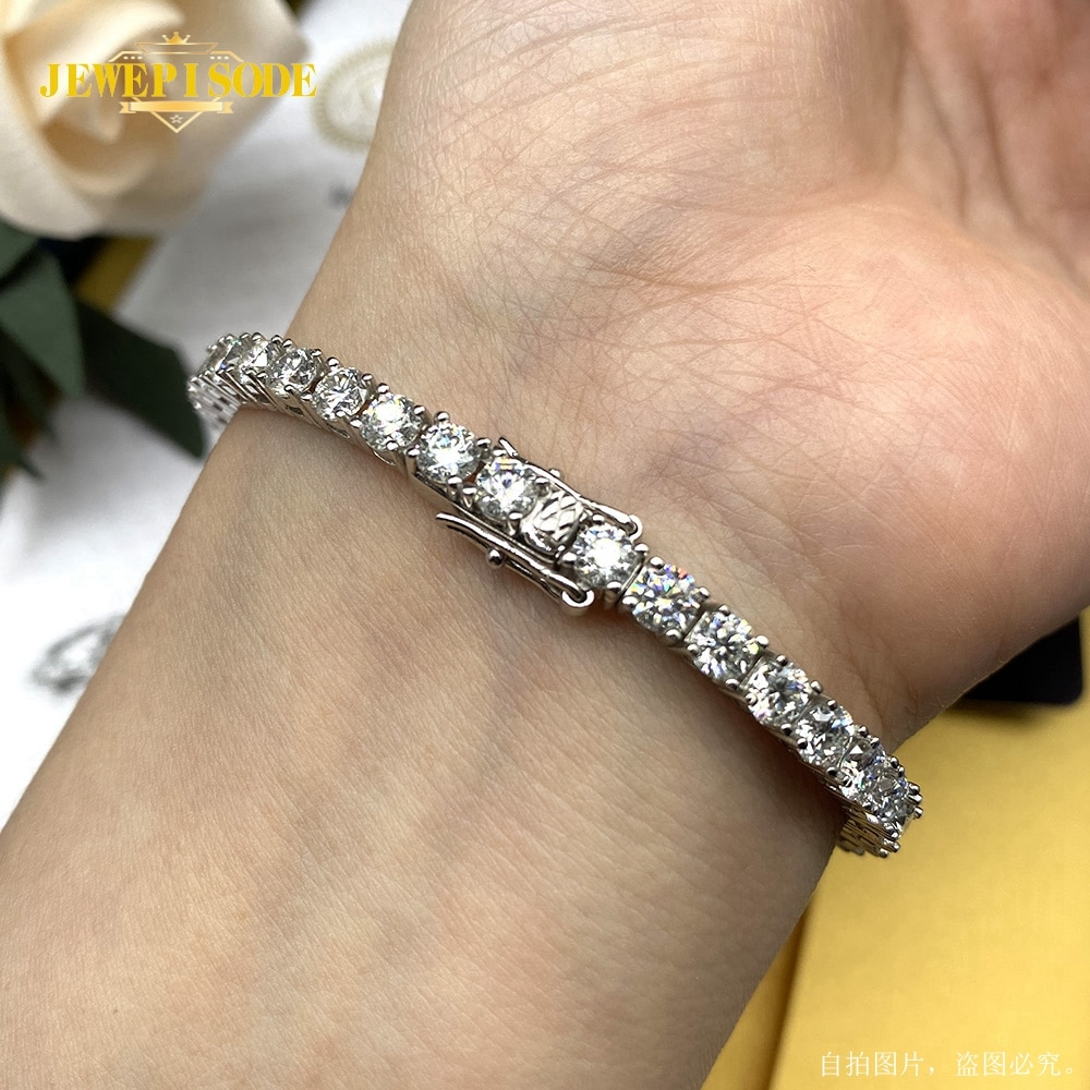 Jewepisode 100% Silver 925 Jewelry 4MM 0.3ct Round Cut Real Moissanite Bracelets for Women Men Engagement Fine Jewelry Wholesale