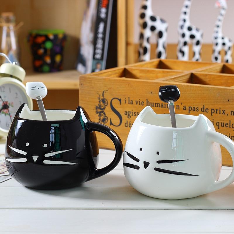 Lindas tazas con figura de gatos de cerámica con cuchara café té leche Animal tazas con asa 380ml Drinkware Bonitos regalos