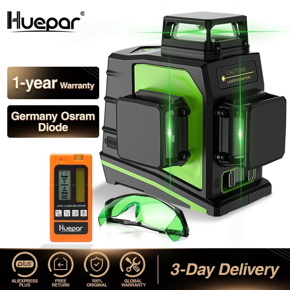 Huepar-ليزر خط متقاطع أخضر ثلاثي الأبعاد ذاتي الاستواء مكون من 12 سطرًا ، مستوى ليزر رأسي وأفقي بزاوية 360 درجة ، مستقبل نظارات مع شحن USB