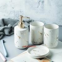Ensemble daccessoires de salle de bain en ceramique  outils de lavage  bouteille deau  gobelet de bain de bouche  Imitation marbre  porte-savon porte-brosse a dents