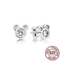S925 Sterling Silver Dazzling Cartoon Minney Mickey Europe Stud Earrings Original Women Zircon crystal earrings Gifts Jewelry