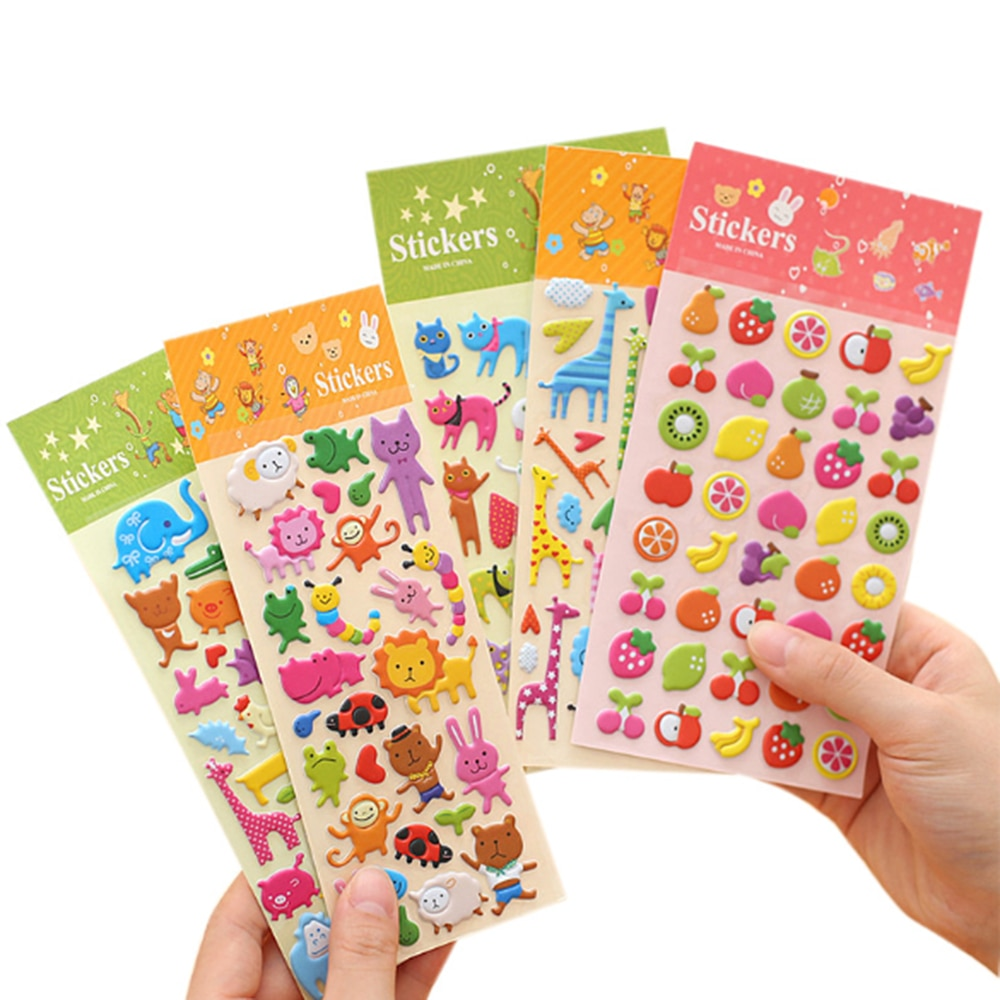 100 Sheets Cute Cartoon Scrapbooking Bubble Puffy Stickers Reward Kids Gift Toys