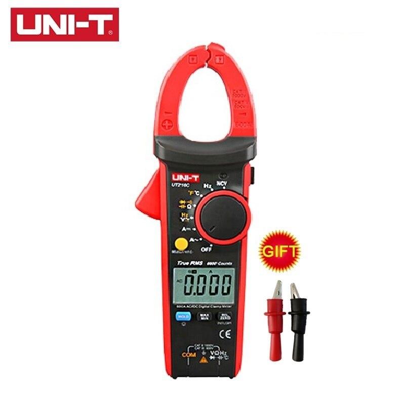 UNI-T UT216 Series Medidores de pinza digitales NCV V.F.C diodo retroiluminación LCD UT216C valores eficaces verdaderos Test AC DC multímetros de rango automático