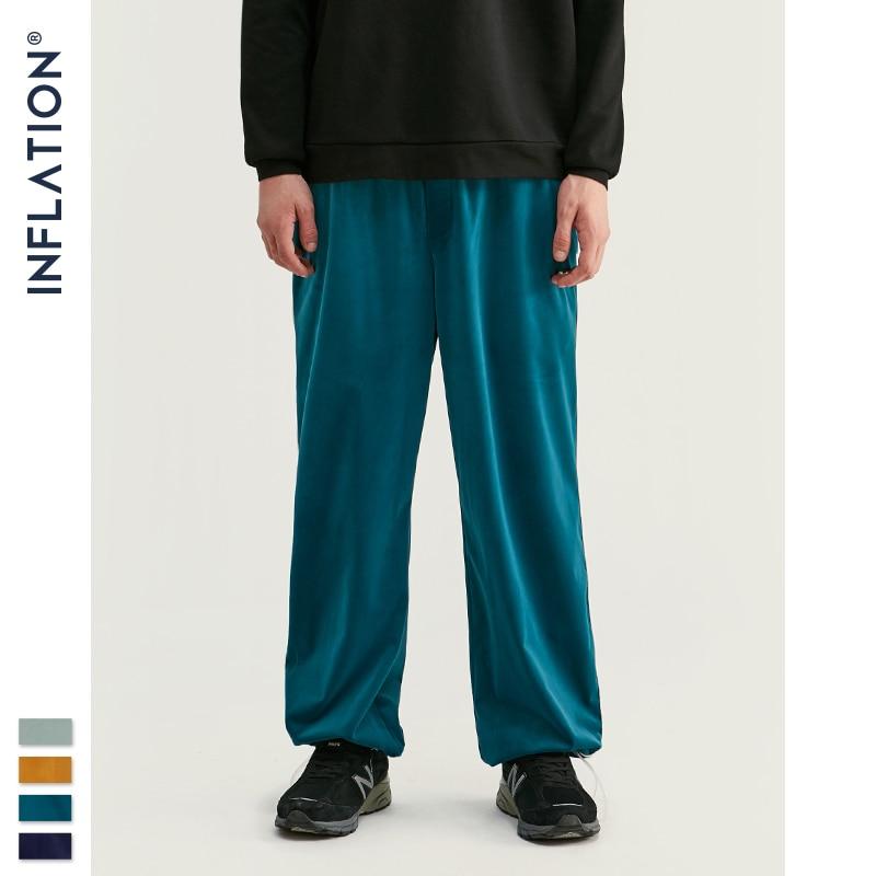 Inflar 2020 FW, pantalones de chándal para hombres, monos holgados de Color sólido, pantalones de chándal para hombres, pantalones de tejido de franela para hombres, 93381W
