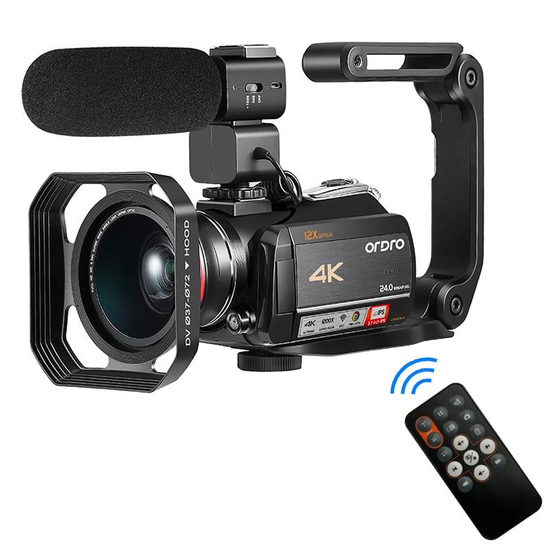 Videocámara ORDRO-AC5 4K cámara de vídeo Digital 12X zoom óptico-sacudida con lente gran angular