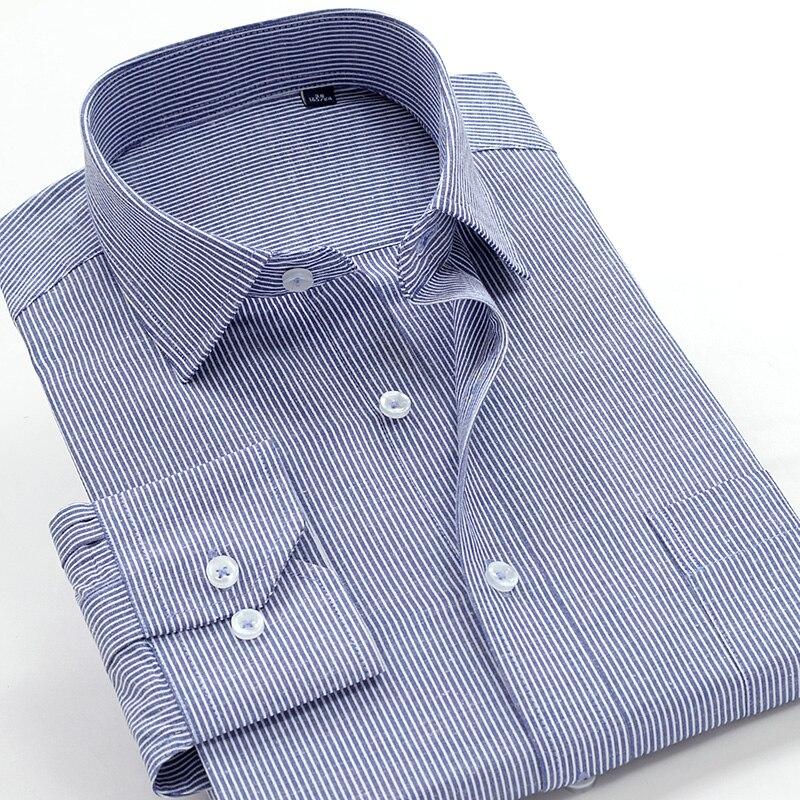6XL 7XL 8XL 9XL 10XL herren Gestreiftes Hemd 2020 Herbst Marke Kleidung Komfortable Baumwolle Leinen Casual Lose Lange Hülse hemd