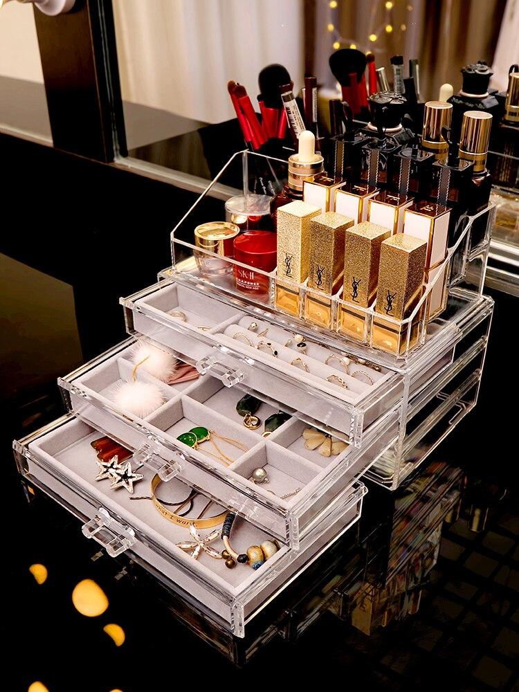 Net Red Jewelry Box Transparent Simple Jewelry Earrings Lipstick Storage Box Acrylic Ring Earrings Finishing Rack