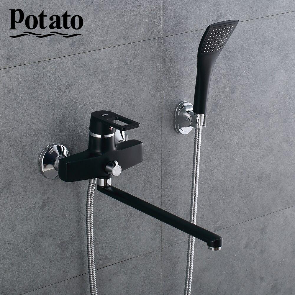 البطاطس الحمام دش صنبور مجموعة أسود أو أبيض مقبض واحد المياه الباردة والساخنة الحائط صنبور حوض استحمام دش رئيس p2230-