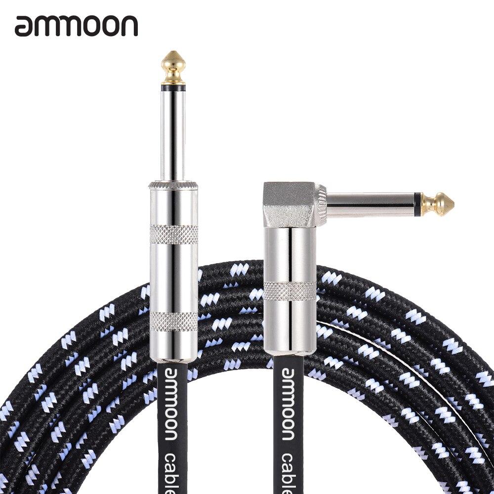 Ammoon 3 metros/10 pés cabo de guitarra elétrica baixo instrumento musical cabo 1/4 Polegada em linha reta para ângulo direito plug preto
