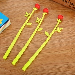 20 PCs Gel Ink Pens Set Creative Stationery Simulation Flowers Cartoon Pen Cute Roses Office Learning Stationery Gifts Wholesale