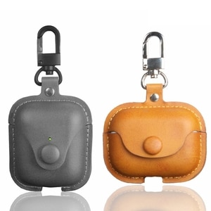for airpods case business retro color leather protective cover for airpods 1 2 pro case with keychain crazy horse series