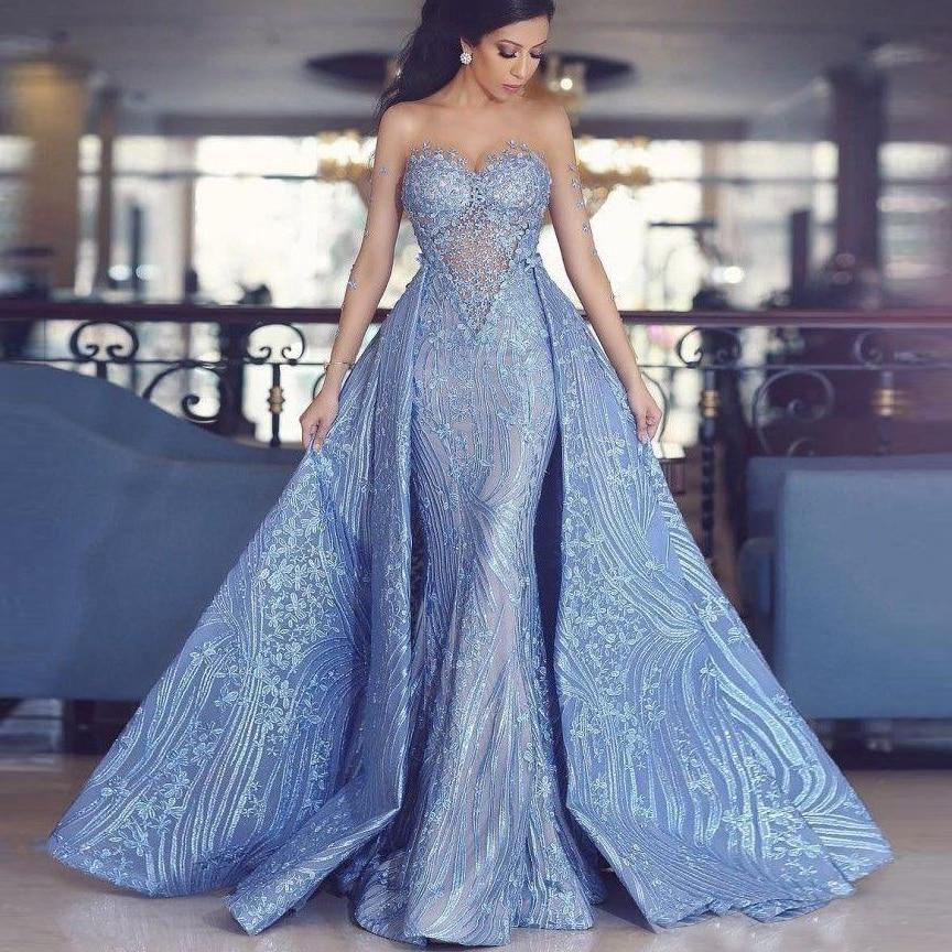 فستان سهرة حورية البحر بأكمام طويلة مع ذيل قابل للفصل ، ثوب مسائي ، مزين بالدانتيل ، 2020