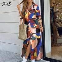 anbenser women elegant print buttoned shirt dress lapel neck maxi party dresses casual loose long sleeve beach dresses vestidos