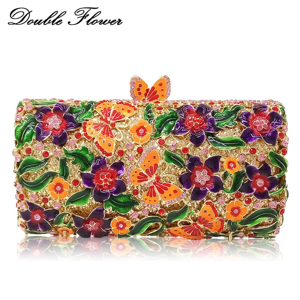 حقائب يد نسائية من الكريستال والزهور ، حقيبة يد معدنية صلبة ، حقيبة يد صغيرة للزفاف