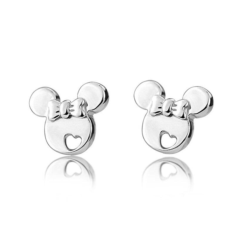 100% Real 925 Sterling Mickey Minnie Mouse Stud pendientes mujer chica encanto joyería de marca envío gratis (SE003)