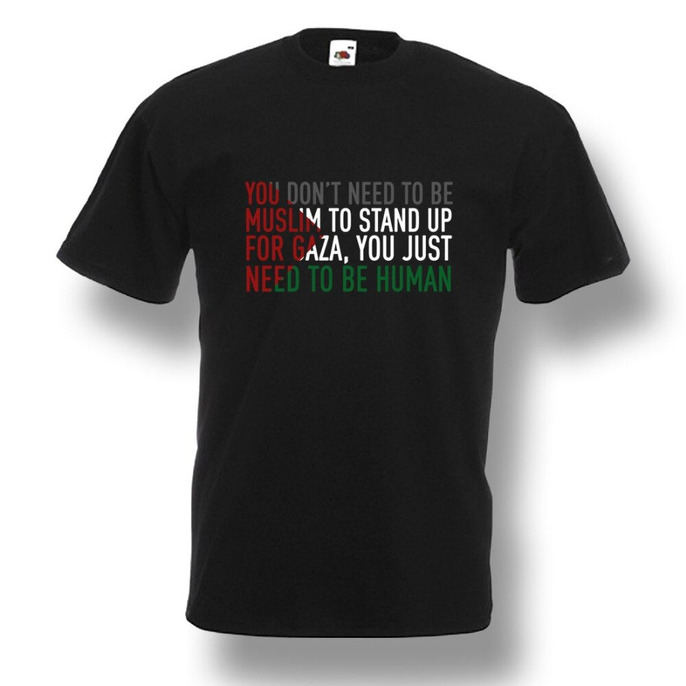 Mais novo 2018 gaza livre palestina al aqsha t camisa genocídio humano muçulmanos camisa dos homens preto s 2xl 100% camisas de algodão 016274