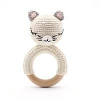 baby toy bed bell soft crochet animal kitten wooden ring baby voice cognitive rocking safe early education newborn gift