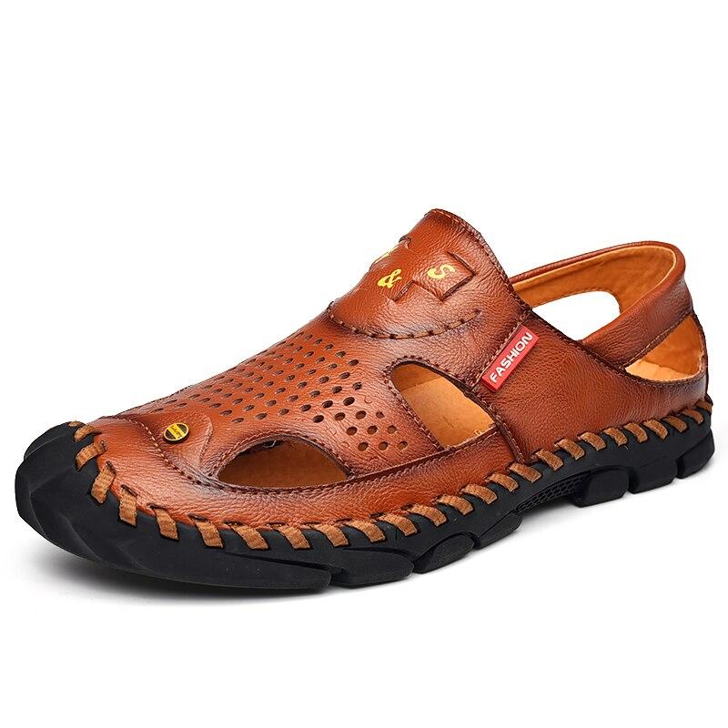 Summer Hollow Men Leather Sandals Outdoor Hiking Sandals for Men Luxury Men's Beach Sandals Hand Sew