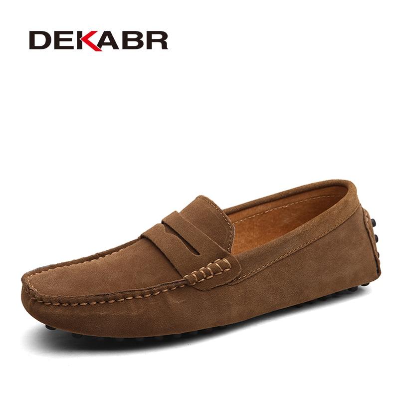 DEKABR – Chaussures décontractées à la mode pour homme, en cuir véritable, mocassins sans lacet avec semelles plates, idéales pour la conduite, pointure 49