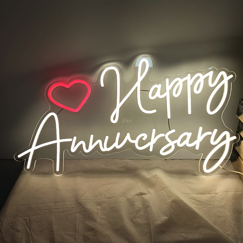 Custom Neon Signs For Room Wall Happy Anniversary 75x39cm Personalized  Led Acrylic Hanging Wedding Home Party Decor Shop Sign enlarge