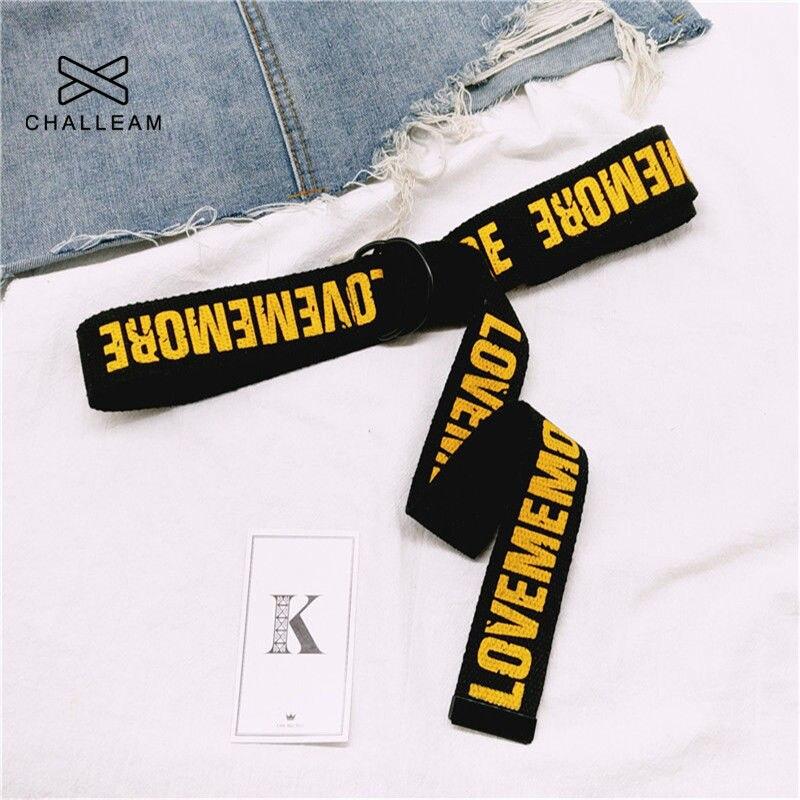 Cinturón Harajuku Love Me More para mujeres, estampado de letras rojas, moda Unisex, doble anillo D, correa de lona, correas largas femeninas para Jeans 103